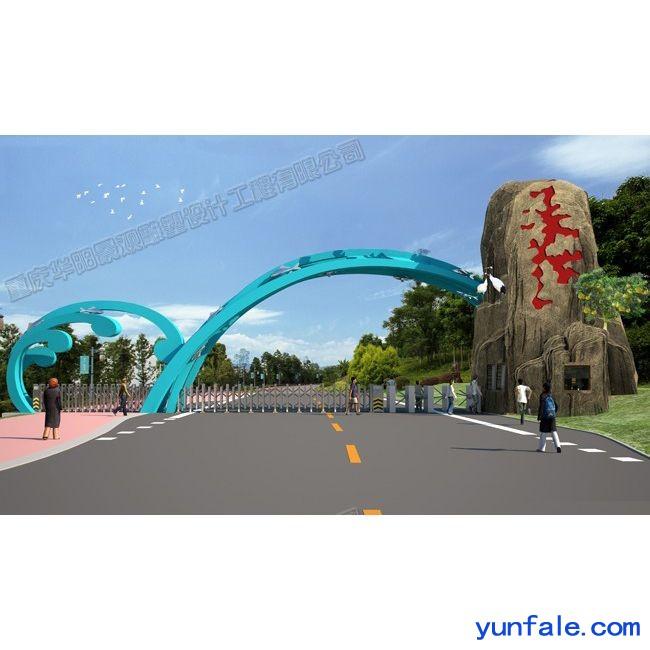 华阳雕塑 重庆艺术大门 四川校园大门安装 贵州古建牌坊制作
